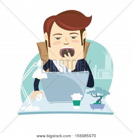Funny Business Man Yawning At His Workplace. Flat Style