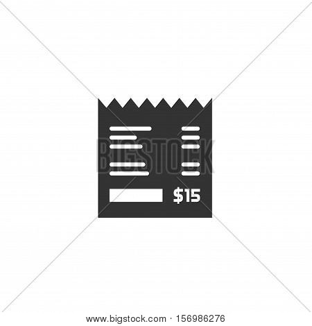 Receipt vector icon isolated on white background, invoice flat illustration, paper bill cheque, flat black and white style pictogram