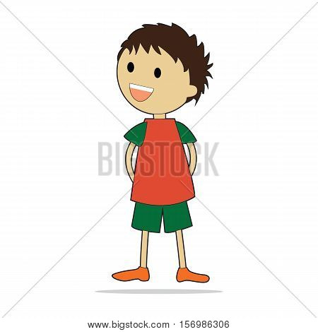 Vector character illustration. Cute little boy. Cartoon personage isolated on white background.