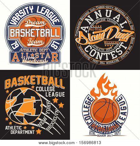 Set of Vintage t-shirt graphic designs,  grange print stamps, basketball typography emblems, sports logos Creative design, Vector