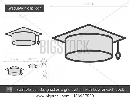 Graduation cap vector line icon isolated on white background. Graduation cap line icon for infographic, website or app. Scalable icon designed on a grid system.