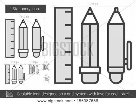 Stationery vector line icon isolated on white background. Stationery line icon for infographic, website or app. Scalable icon designed on a grid system.