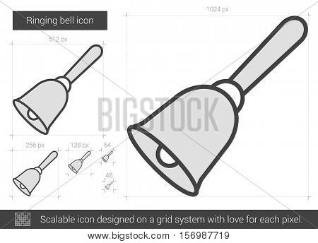 Ringing bell vector line icon isolated on white background. Ringing bell line icon for infographic, website or app. Scalable icon designed on a grid system.
