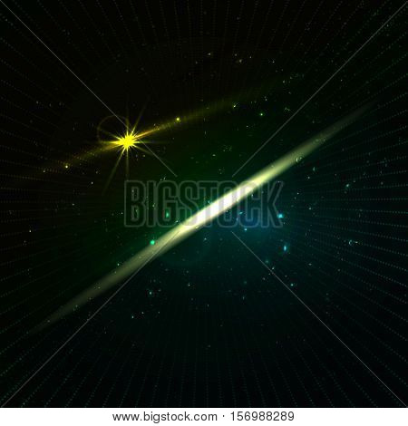 Glowing stars with illusion of depth and perspective.  Infinity abstract background with stars and neon light in dark green shadows. Vector space background in green color with lines. Backdrop for science and cosmic