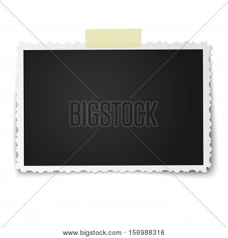 Realistic vector photo frame with retro figured edges on piece of sticky adhesive tape placed horizontally isolated on white background. Template photo design.