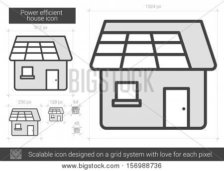 Power efficient house vector line icon isolated on white background. Power efficient house line icon for infographic, website or app. Scalable icon designed on a grid system.
