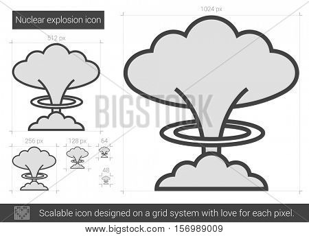 Nuclear explosion vector line icon isolated on white background. Nuclear explosion line icon for infographic, website or app. Scalable icon designed on a grid system.