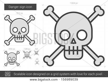 Danger sign vector line icon isolated on white background. Danger sign line icon for infographic, website or app. Scalable icon designed on a grid system.
