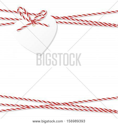 Abstract white background with heart tag label tied up with red rope bakers twine bow and ribbons