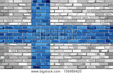 Flag of Finland on a brick wall - Illustration,  Finnish flag painted on brick wall, Finland flag in brick style,  Abstract grunge mosaic vector