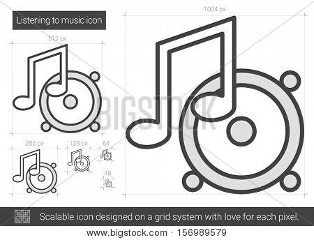 Listening to music vector line icon isolated on white background. Listening to music line icon for infographic, website or app. Scalable icon designed on a grid system.