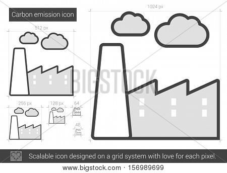 Carbon emission vector line icon isolated on white background. Carbon emission line icon for infographic, website or app. Scalable icon designed on a grid system.