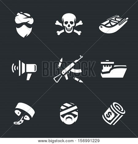 Pirate, skull and crossbones, inflatable boat, speaker, weapons, ship, shackles, victim, money.