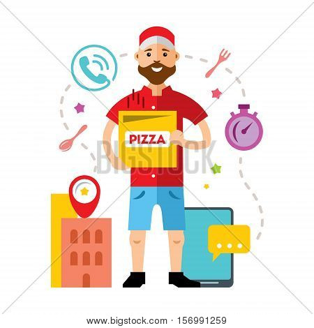 Cheerful young deliveryman with a pizza box. Isolated on a white background