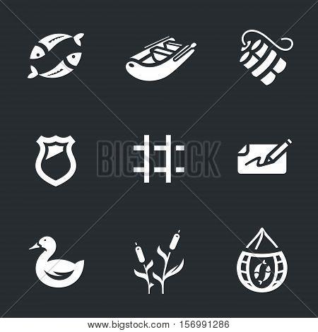 Fish, boat, dynamite, police badge, prison bars, fine, duck, reeds, fishing net.