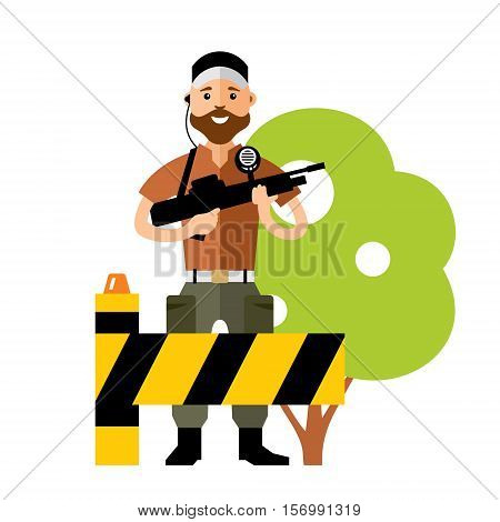 Parking barrier and bodyguard. Isolated on a white background