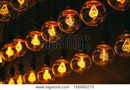 Vintage incandescent Edison type bulbs in shop