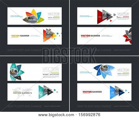 Vector set of modern horizontal website banners with geometric flower shapes, polygons, triangles for science, natural organic idea. Clean web headers design.