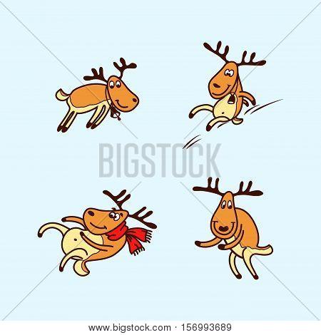 Vector illustration of a happy cartoon Christmas Reindeer. Reindeer set.