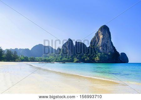 beautiful beach railay bay summer season krabi thailand