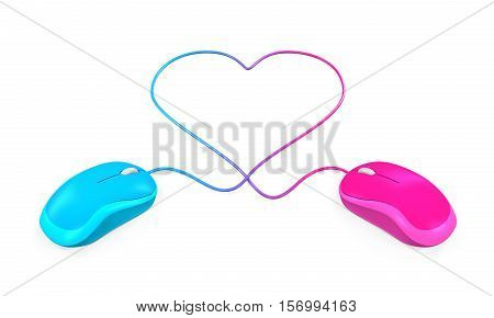 Heart Shaped and Computer Mouse isolated on white background. 3D render