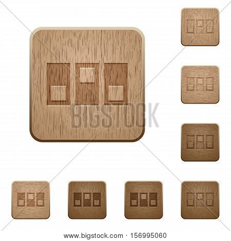 Switchboard icons in carved wooden button styles