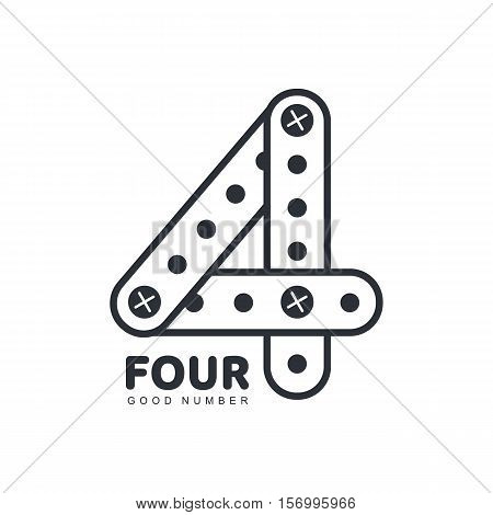 Black and white number four logo template made of straight and curved strips, vector illustration isolated on white background. Black and white number four graphic logotype of erector details