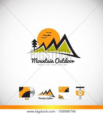 Mountain vector logo icon sign design template corporate identity