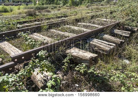 Old antique wood train lanes in Albania