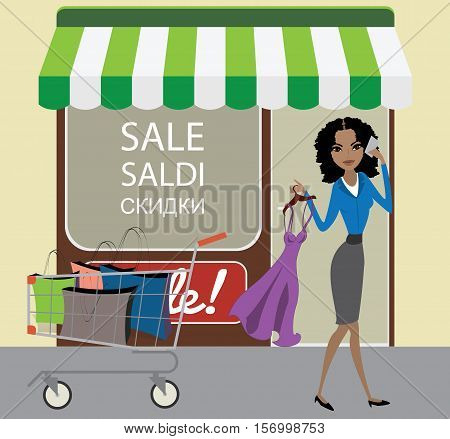 Beautiful African American woman with a new dress and shopping trolley speaks by phone store discounts in the background. Stock vector illustration