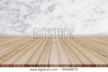 Natural oak wood floor with luxury marble stone wall texture