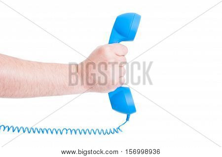 Telephone Receiver In Male Hand