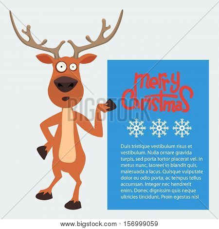 Reindeer cartoon showing or holding blank billboard. Merry christmas calligraphy and snowflakes. Empty place for your design.