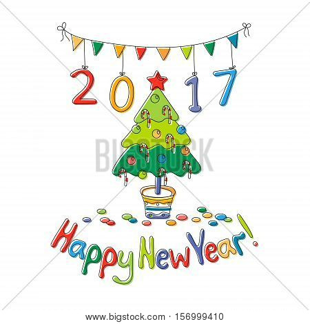 Happy New Year greeting card with fir. Cartoon style. Hand draw vector illustration. Bright colors.