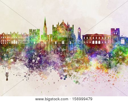 Exeter skyline artistic abstract in watercolor background