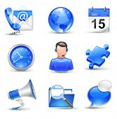 business icons set - mail, contact,calendar,callcenter,clock,globe,puzzle,news,search,chat poster