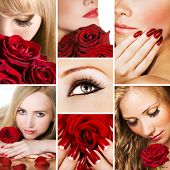 Collage of several photos for fashion and beauty industry poster