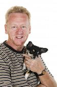 Elderly man with his little Chihuahua dog poster