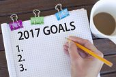 2017 Goals / New year resolutions, plans and aspirations list concept poster