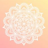 Round mandala on dreamy gradient background. Translucent mesh pattern in the form of a mandala. Mandala with floral patterns. Yoga template. poster