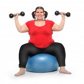 Overweight woman training and slimming with weights after lavish eating during the christmas holidays. Body care and healthy lifestyle theme. Active people isolated on white background. poster