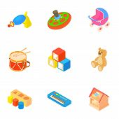 Kind of toys icons set. Cartoon illustration of 9 kind of toys vector icons for web poster