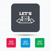 Smartphone icon. Let's Go symbol on map. Pokemon game concept. Colored square buttons with flat web icon. Vector poster