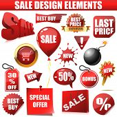 Vector set of sale design elements isolated on white background. The text is on separate layer and can be easily removed. poster