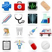 Medical icons and symbols vector set isolated on white. poster