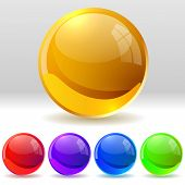 Vector collection of realistic glossy balls. EPS10 file. poster