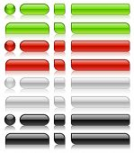Glossy web buttons of different shapes in green, red, white and black colors. poster