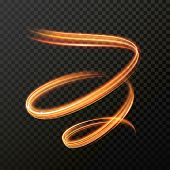 Glowing fire swirl spiral. Vector abstract light speed motion effect. Light trace effect. Glow luminous glitter shimmer trail. Light painting poster