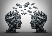 Solution exchange and tranfer of ideas concept as a group of jigsaw puzzle pieces shaped as two human heads exchanging answers to challenges as a business problem solving motivation metaphor as a 3D illustration. poster