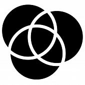 Overlapping circles icon - Contour of 3 overlapping intersecting circles poster